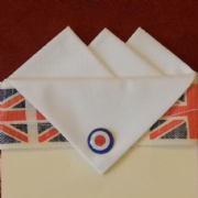 White Three Point Pocket Hankie with Mod Target Pin